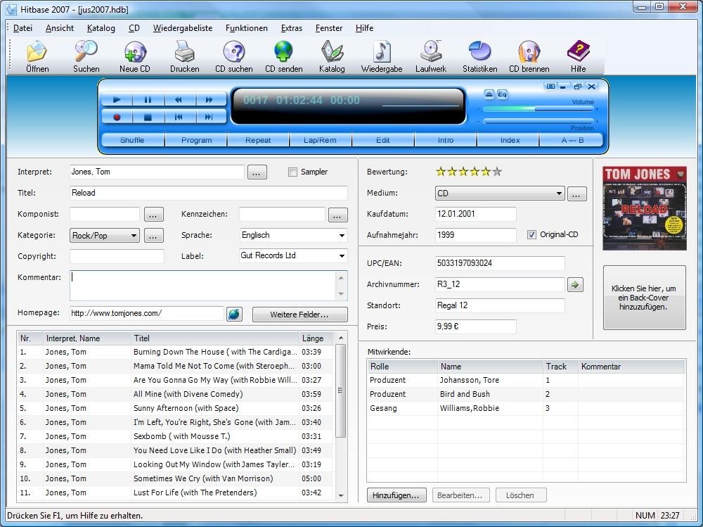 Screenshot vom Programm: Hitbase 2007